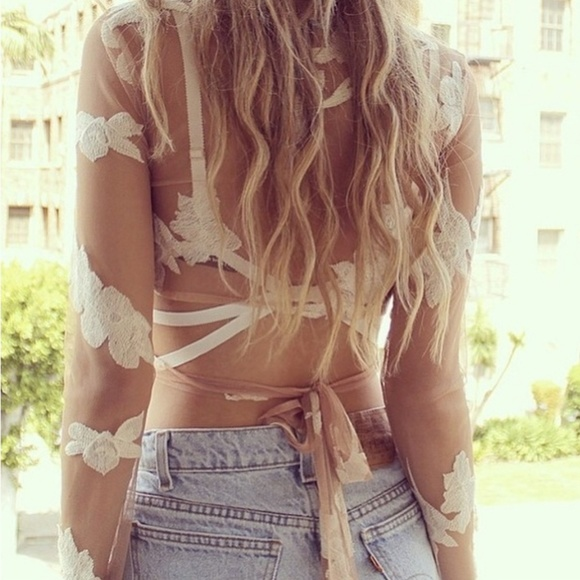 For Love And Lemons Tops - For Love & Lemons | RARE Color White Orchid Crop